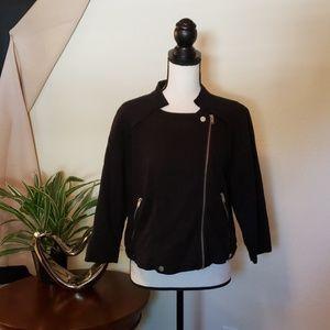 a.n.a black, light weight, zipper & button jacket.